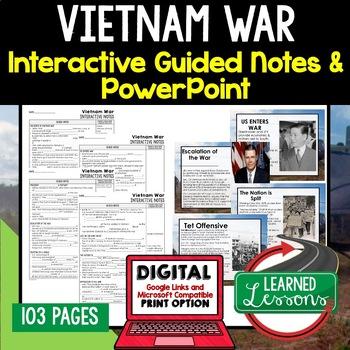 Vietnam War Notes & PowerPoints, US History, Print, Digital
