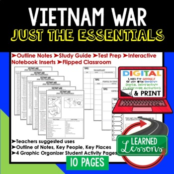 Vietnam War Outline Notes JUST THE ESSENTIALS Unit Review