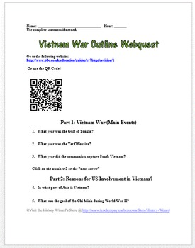 Vietnam War Outline Webquest