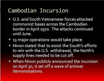 Vietnam War PowerPoint for 1970 & 71 w/ Note Sheet - Kent State & Vietnamization