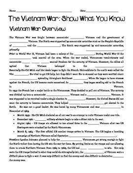 Vietnam War Pre-Reading Activity