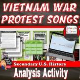Cold War | Vietnam War Protest Song Analysis Activity | Print and Digital | 8-12