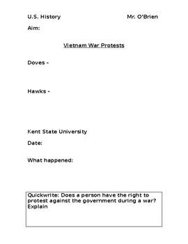 Vietnam War Protests PowerPoint Worksheet
