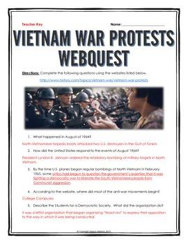 Vietnam War Protests - Webquest with Key