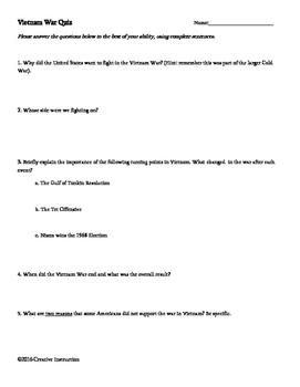 Vietnam War Quiz with Answer Key