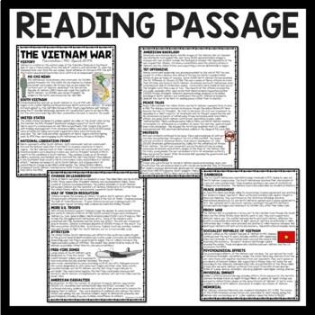 Vietnam War Reading Comprehension Worksheet, U.S. History, Communism, DBQ