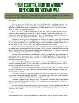Vietnam War Soldier's Letter Primary Source Reading