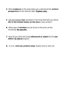Vietnam War Song Lyric Analysis