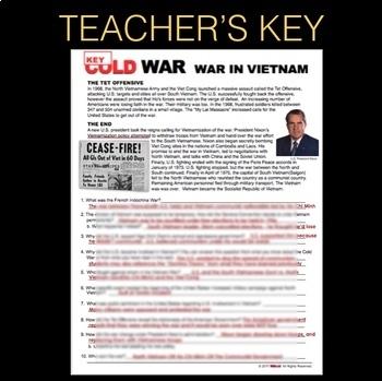 Vietnam War Summary Info Text Analysis (Cold War) + Distance Learning Version