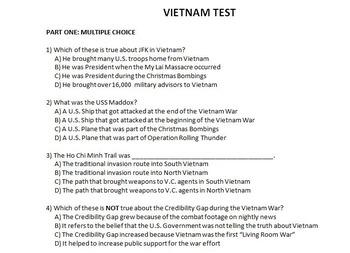 Vietnam War Test with Answer Key