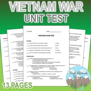 Vietnam War Unit Test / Exam / Assessment (U.S. History)