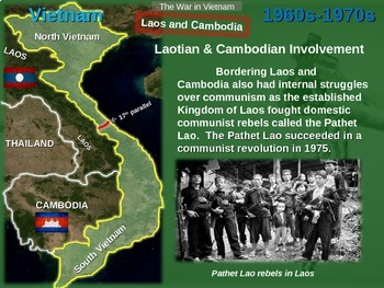 Vietnam War Unit: highly engaging 75-slide PPT w video links guided notes & more
