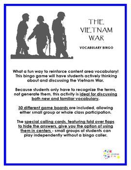 Vietnam War Vocabulary Bingo
