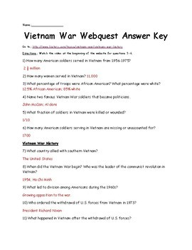 Vietnam War Webquest- 42 questions
