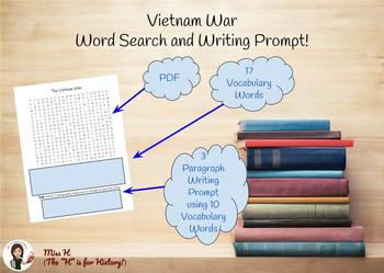 Vietnam War Word Search and Writing Prompt