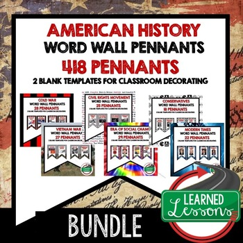 Vietnam War Word Wall Pennants (American History)