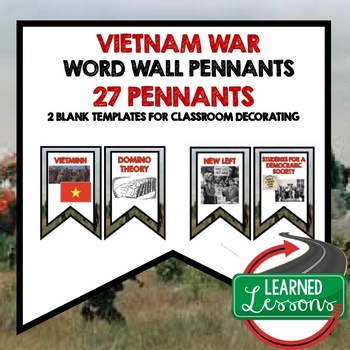 Vietnam War Word Wall Pennants (American History)