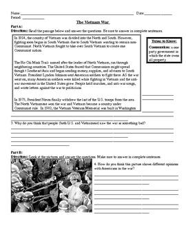 Vietnam War Worksheet 6 parts by Ms History  Teachers Pay Teachers