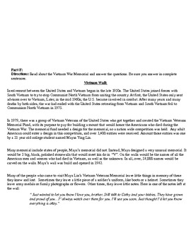 Vietnam War Worksheet- 6 parts