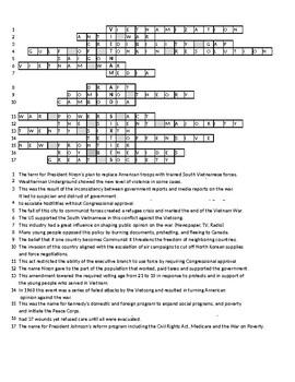Vietnam and Sixties Crossword Puzzle