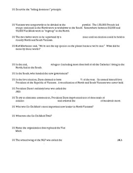 Vietnam by Ken Burns and Lynn Novick Film Episode One Worksheet- Editable