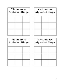 Vietnamese Alphabet Bingo