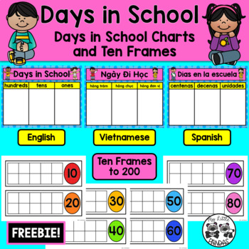 Days in School Chart with Ten Frames in English, Vietnamese, and Spanish
