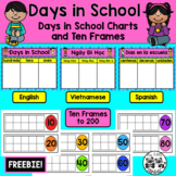 FREEBIE: Days in School Chart with Ten Frames *English, Vietnamese, and Spanish*