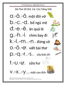 Vietnamese Letters Alphabet Poem