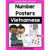 Vietnamese Number Posters 1-20 *Bugs and Animals*
