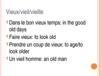 Vieux/vieil/vieille (old) - modifiable PowerPoint