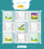 View from the open window clip art: the seasons, time of day, weather, animals.