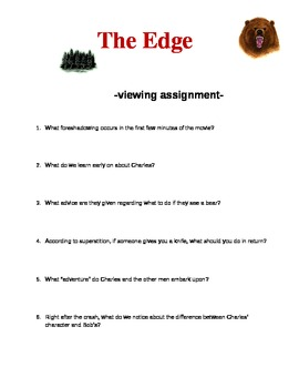 """Viewing Assignment for the adventure movie """"The Edge"""""""