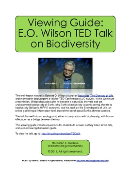 Viewing Guide: E.O. Wilson TED Talk on Biodiversity