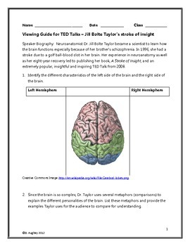 Jill Bolte Taylor's Stroke of Insight TED Talk: Viewing Guide