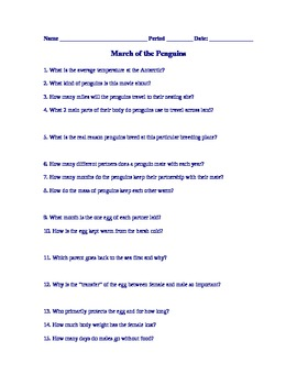 Viewing Guide Worksheet to March of the Penguins