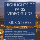 Viewing Guide for Rick Steves Highlights of Paris Video  -NO PREP! Easy subbing
