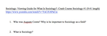 Viewing Guide for What is Sociology? Crash Course Sociology #1