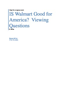 Viewing Questions for Is Walmart Good for America