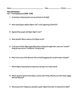 """Viewing Questions for film """"The Last Samurai"""""""