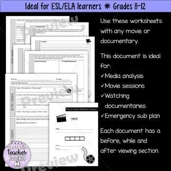 Movie Guide ANY movie or documentary ESL/ELA