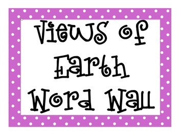Views of Earth Word Wall