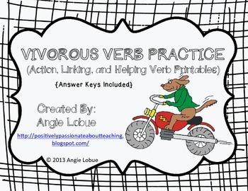 Vigorous Verb Grammar Practice: Three Printables with Answer Keys