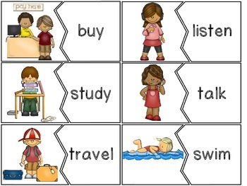 Vigorous Verbs! Puzzles Word Work Center