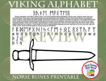 Viking Alphabet Norse Runes Printable Distance Learning
