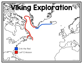 Viking Exploration of N. America Poster, Map, and Interactive Notebook INB Set