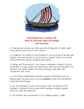 Viking FUN FACTS: Leif Eriksson Day is October 9th
