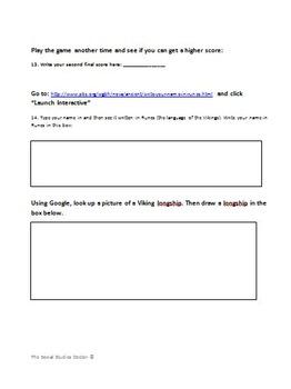 Viking Quest Interactive Game Worksheet