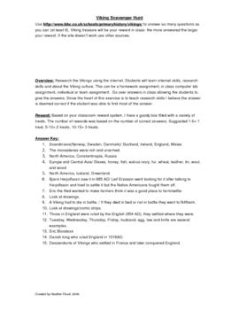 Viking Scavenger Hunt: Internet Research