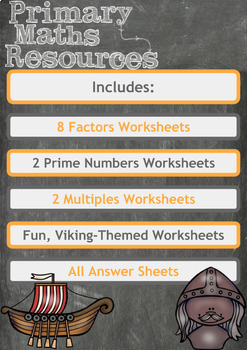Fun Viking Themed Factors, Multiples and Prime Number Problems for 4th Grade